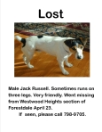 FORESTDALE, AL: Birmingham area. Lost dog. Male Jack Russell. Sometimes runs on 3 legs. Very friendly. Went missing from Westwood Heights section of Forestdale. Contact 798-9705